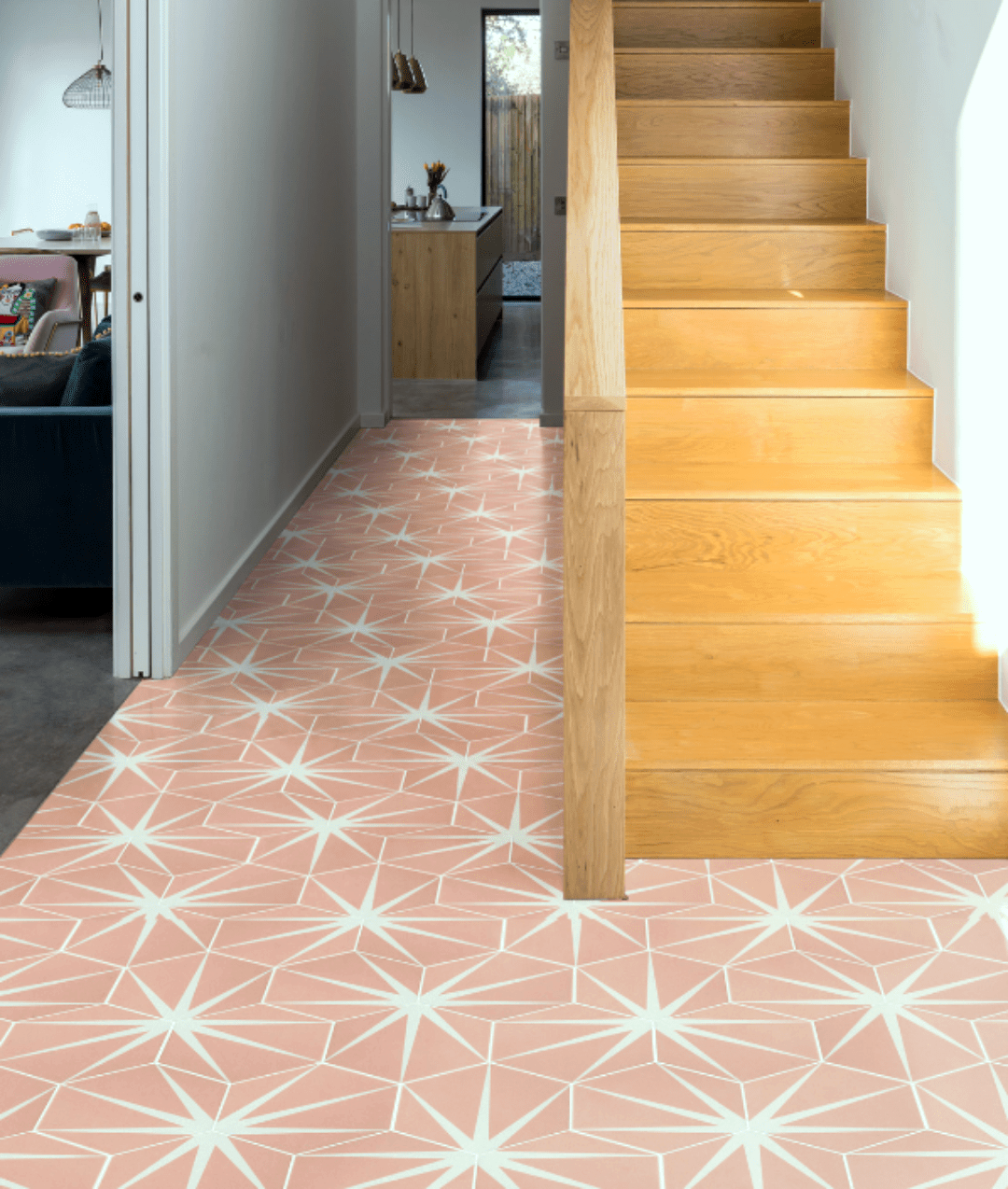 Pink tiles for hallway